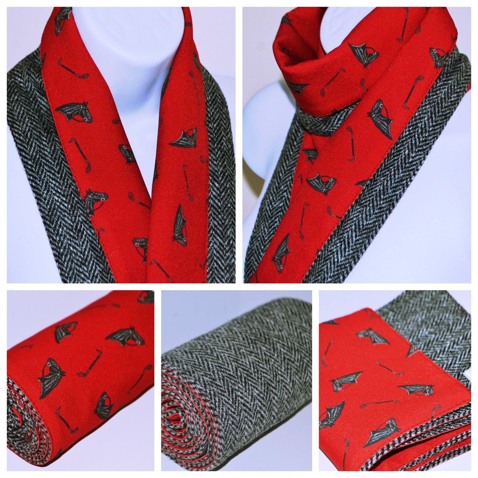 Black and white houndstooth scarf Harris Tweed 100/% wool