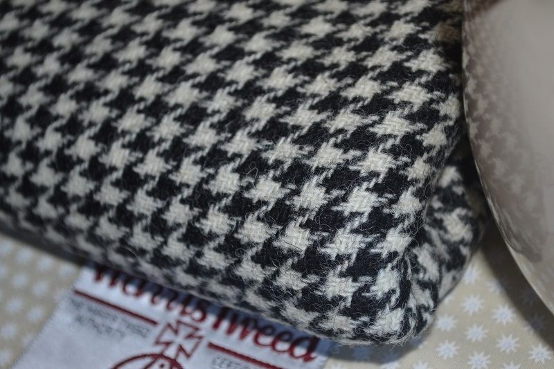 Harris Tweed Fabric Labels 100 Wool Black White Houndstooth Scottish 1